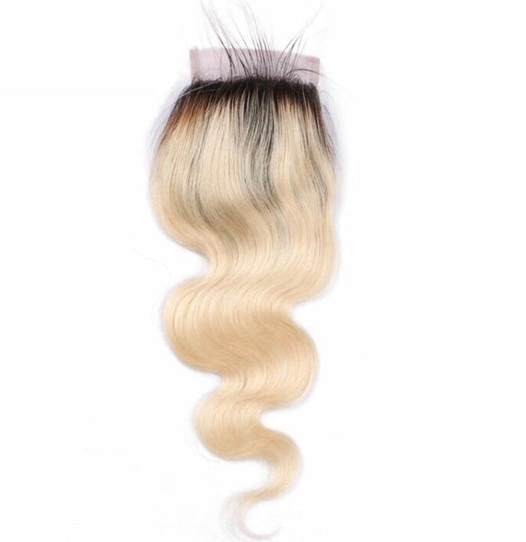 Body Wave 4x4 Lace Base Ombre Closure (1B/613) - Low price cheap hair extensions