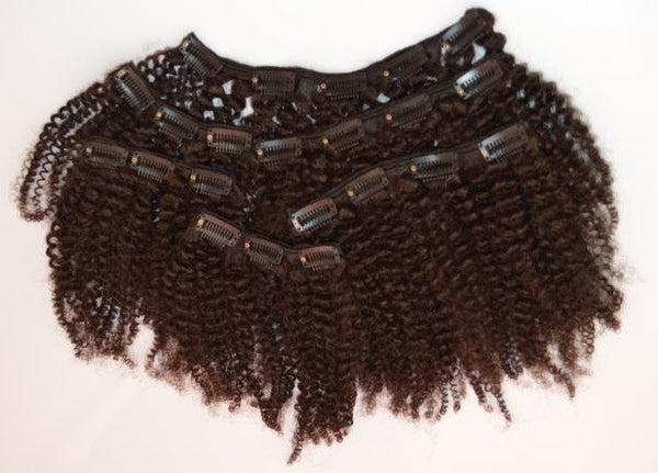 Afro Kinky Curly Clip In Extensions (#4 Brown) - Low price cheap hair extensions