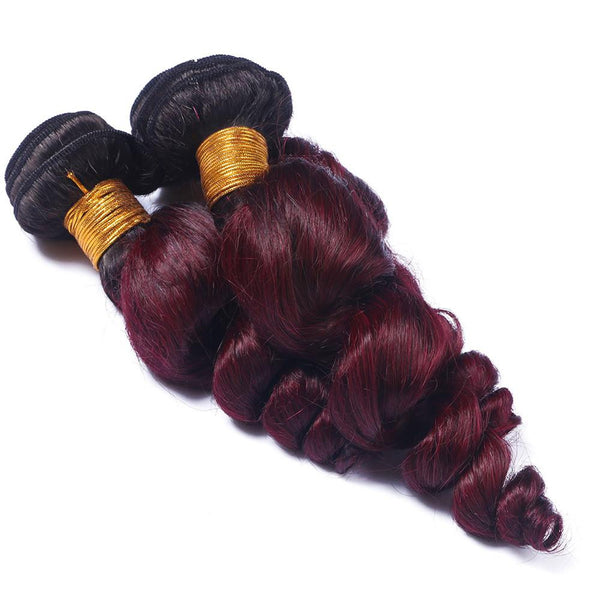 Loose Wave Ombre Human Hair (Three Bundles) (1B/99J) - Low price cheap hair extensions