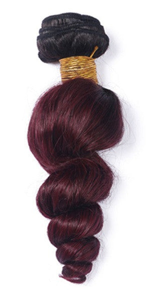 Loose Wave Ombre Human Hair (One Bundle) (1B/99J)