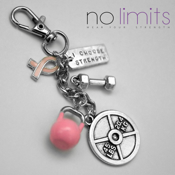 Pink Ribbon strength keyring