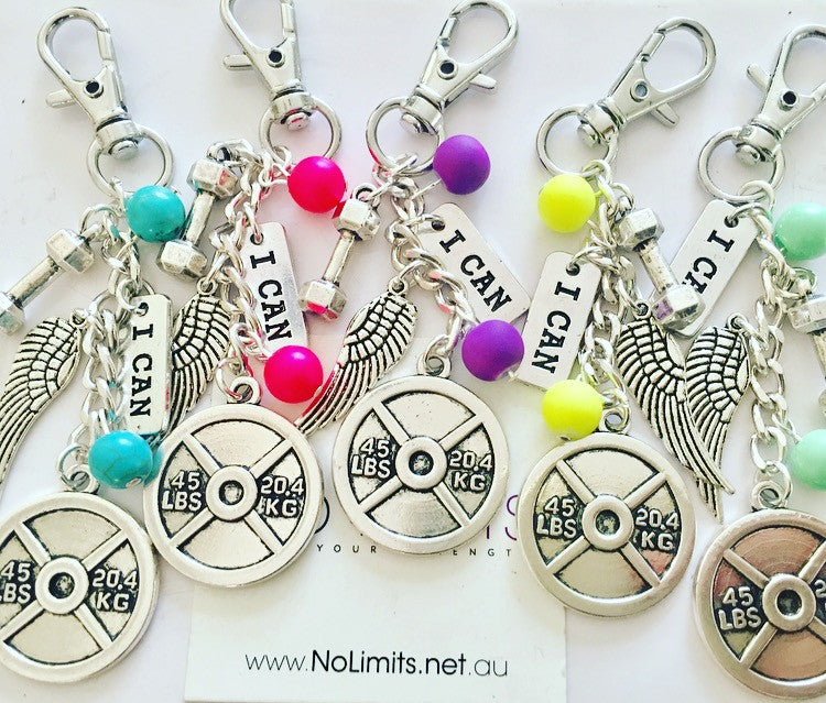 Keep moving fitness keyring