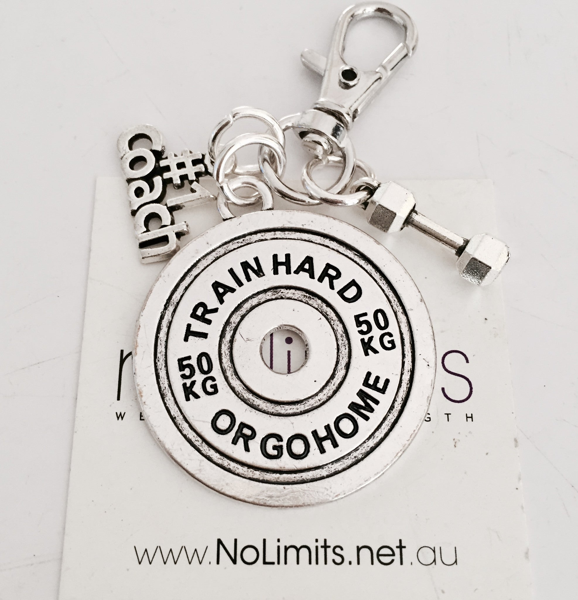 Coach Says Train Hard keyring