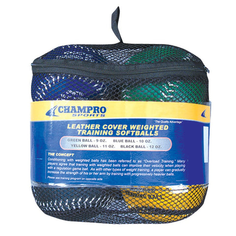 Champro Sports Weighted Leather Cover Training Softballs - Complete Game Pro Shop