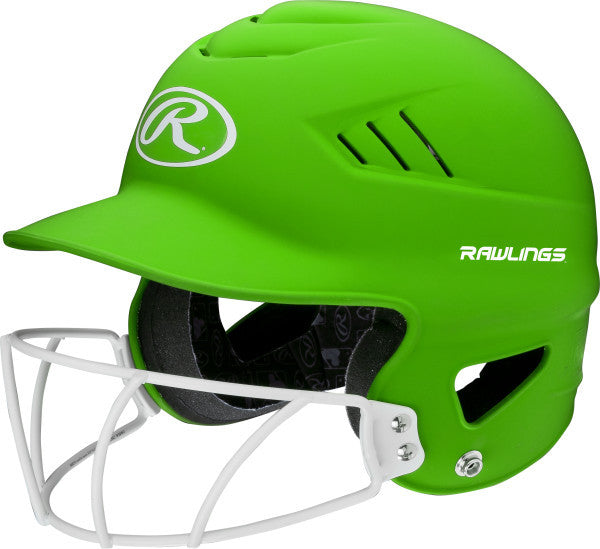 Rawlings Coolflo Fastpitch Batting Helmet with Mask- Hyper Green - Complete Game Pro Shop