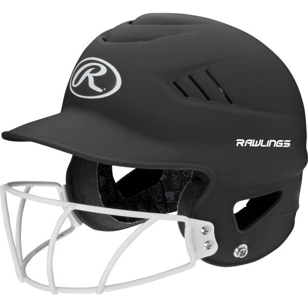 Rawlings Coolflo Fastpitch Batting Helmet with Mask- Matte Black - Complete Game Pro Shop