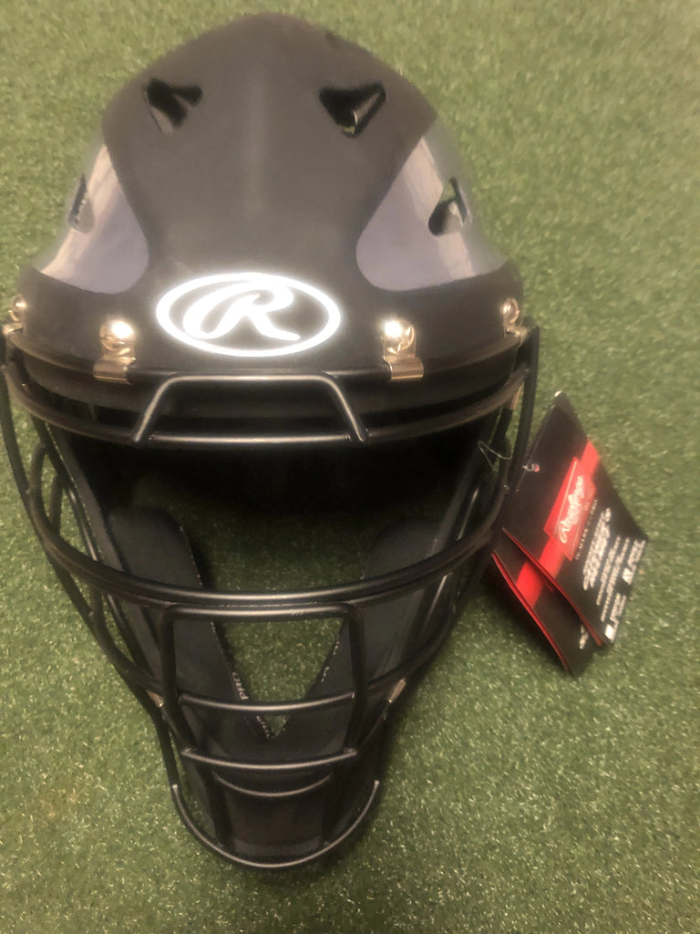 "Rawlings Velo Adult Hockey Style Baseball Catcher's Helmet 7 1/8"" - 7 3/4""- black/grey matte - Complete Game Pro Shop"