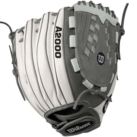 "Wilson A2000 V125 White SuperSkin 12.5"" Fastpitch Glove - Complete Game Pro Shop"