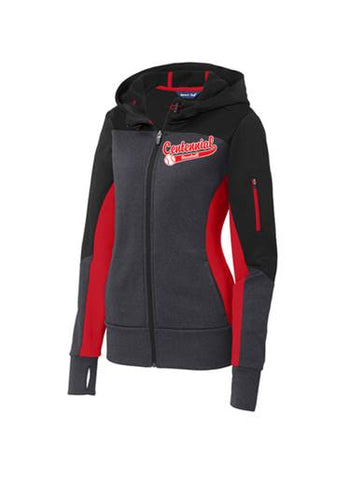 Centennial Baseball Ladies Tech Fleece Colorblock Full-Zip Hooded Jacket - Complete Game Pro Shop