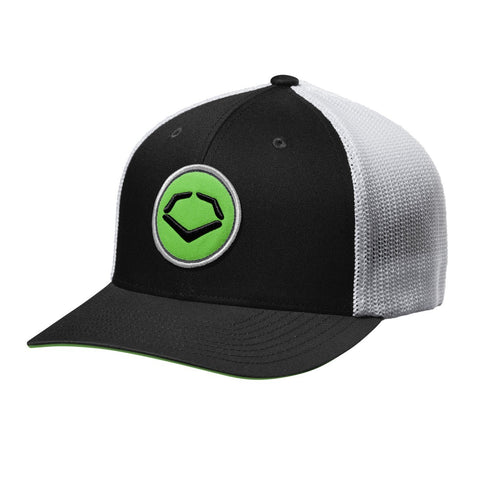 EvoShield Circle FlexFit Baseball Cap - Black with Green Logo - Complete Game Pro Shop