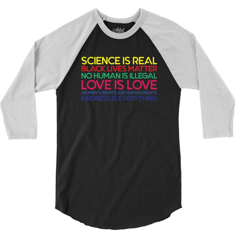 Anti Trump Science is Real Black Lives Matter T shirt 3/4 Sleeve Shirt