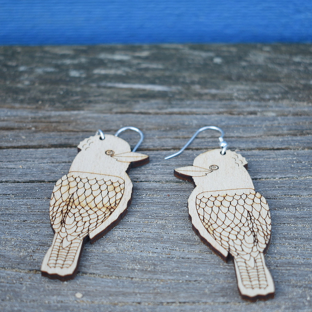 Kookaburra handmade Pine Earrings - Australian Native Birds Jewellery