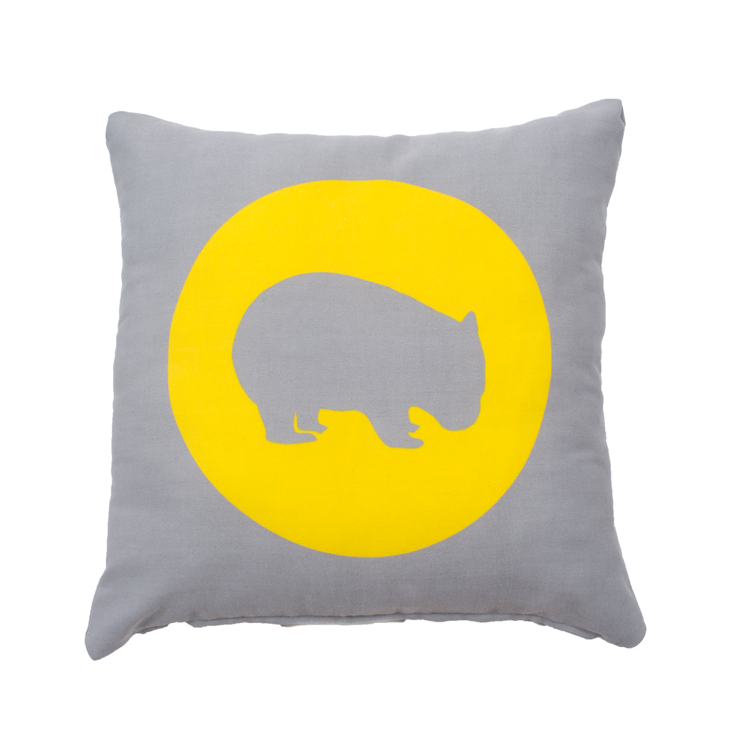 Wombat Cushion Australiana gift with yellow spot by Cockatoo Collection