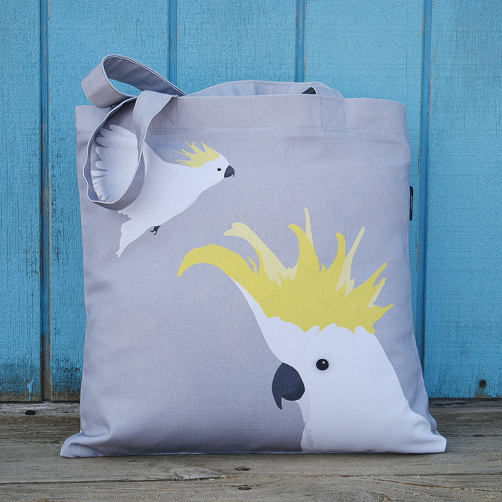 COCKATOO CANVAS BAG IN GREY AND YELLOW