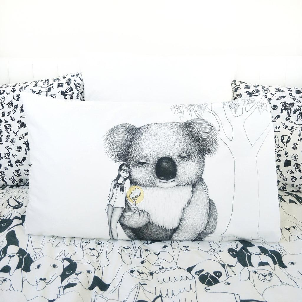 Giant Koala Pillowcase - Australian Art / Australiana Gift. Illustration by flossy-p. Image credits: Cockatoo Collection