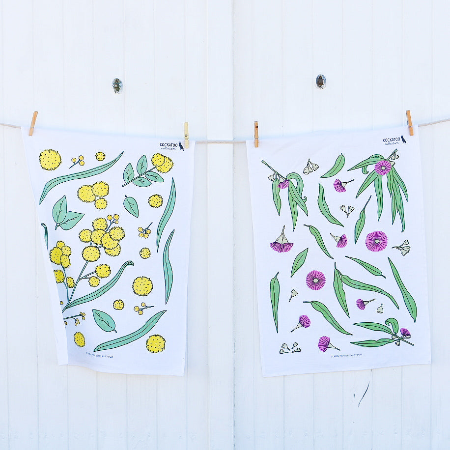 Gum Blossom and Golden Wattle Tea Towel