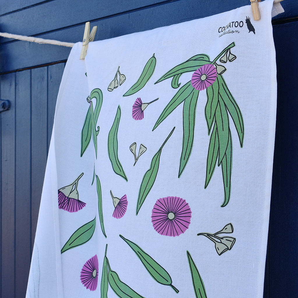 Eucalyptus Bloom Tea Towel by Cockatoo Collection - Australiana Gift /