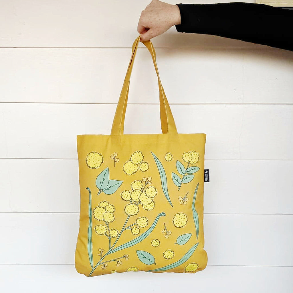 Golden Wattle Organic Canvas Tote in Mustard by Cockatoo Collection. Image credits the Hectic Eclectic Shop