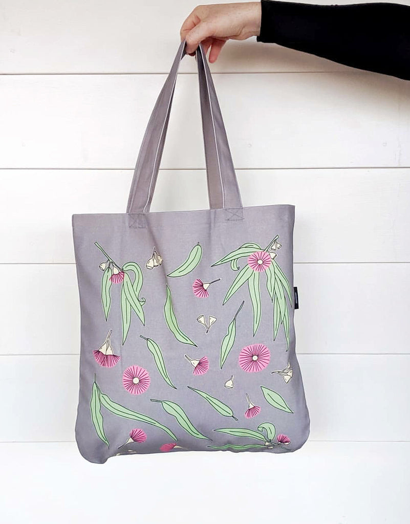 Organic Gum Blossom Tote in Dark grey by Cockatoo Collection. Image Credits The Hectic Eclectic Store