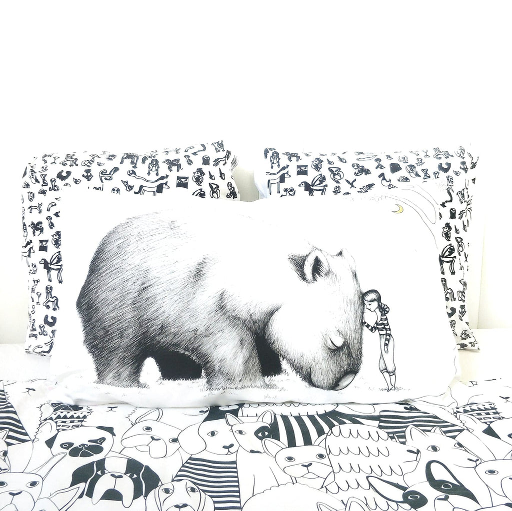 Giant Wombat Pillowcase - Australian art and Australiana gift. Illustrated by flossy-p. Image credits: Cockatoo Collection