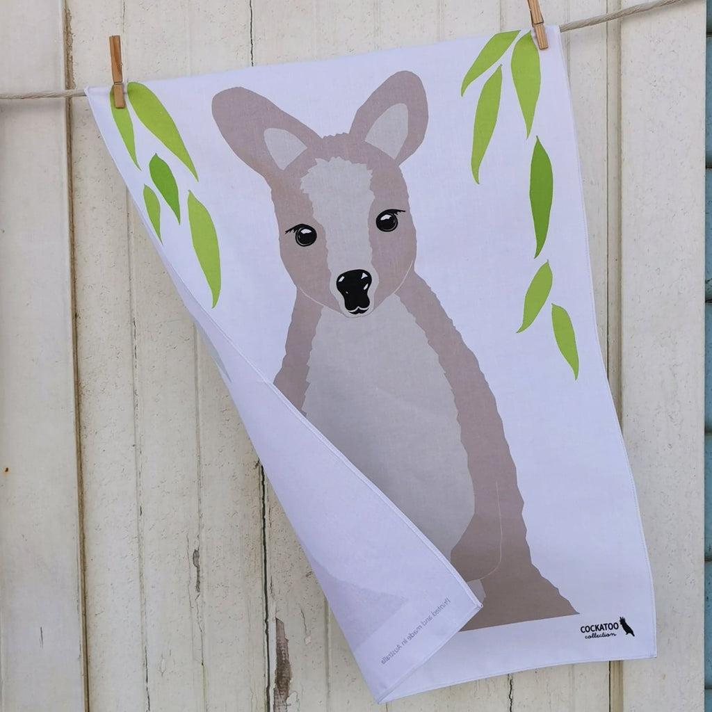 Wallaby Tea Towel by Cockatoo Collection - Australiana Gift