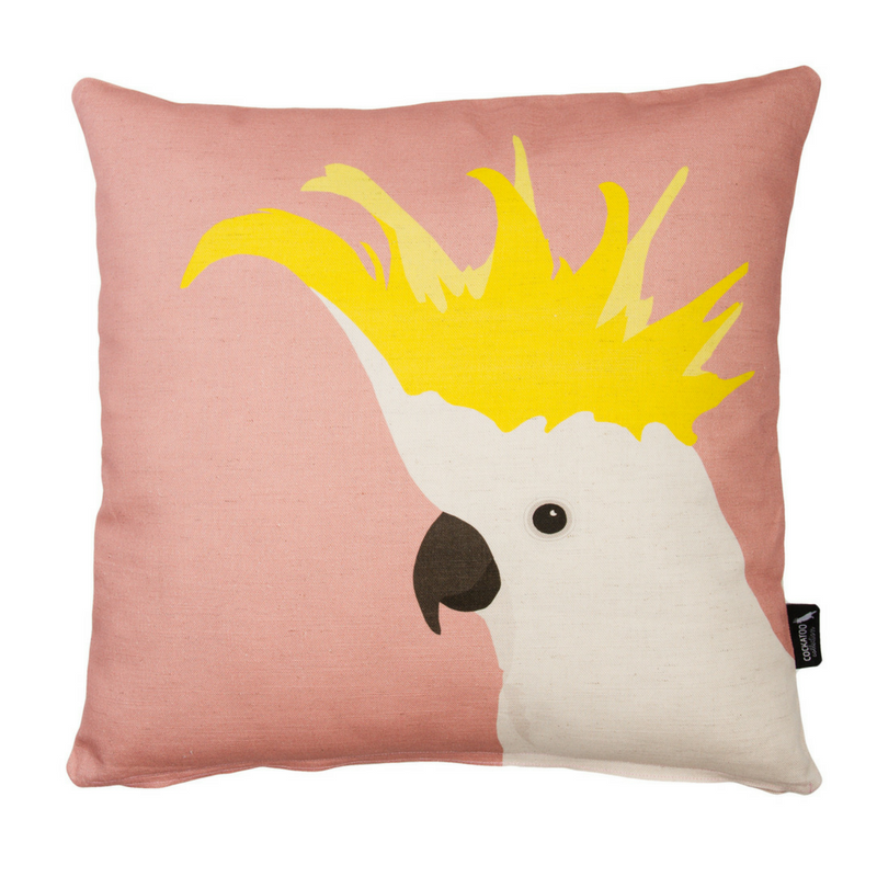 Cockatoo Cushion in Rose by Cockatoo Collection. Ethically made in Australia.