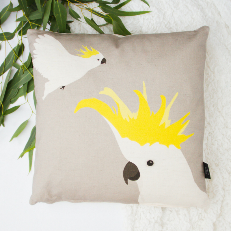 Cockatoo Cushion, ethically made in Australia, by Cockatoo Collection