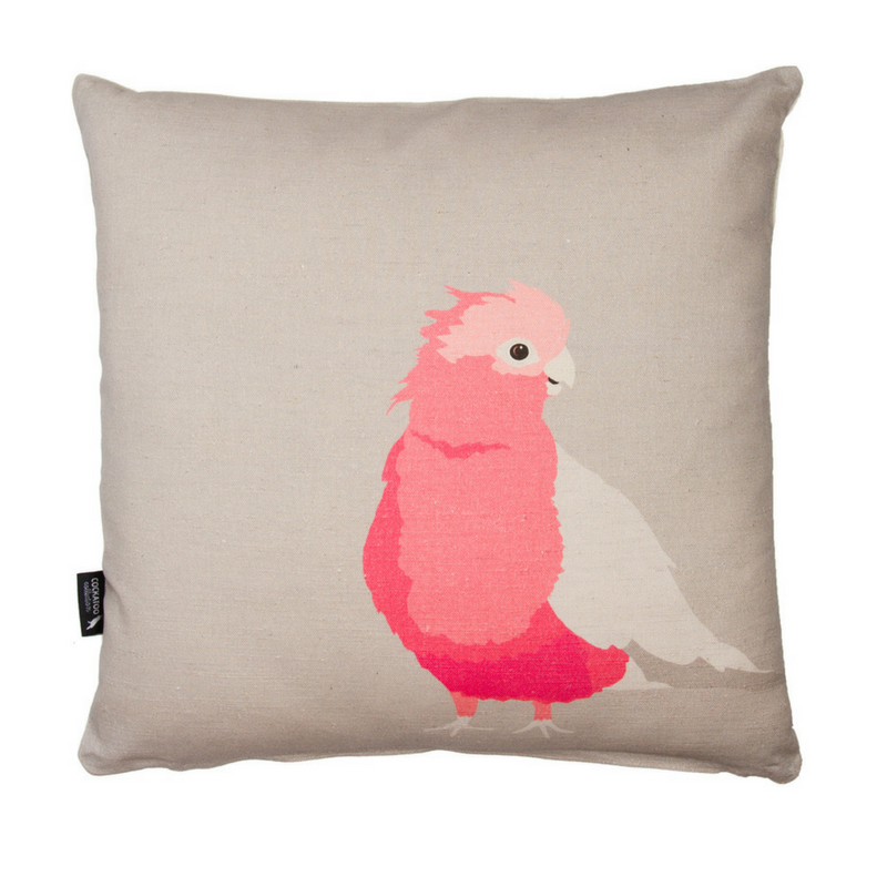 Galah, Australian Bird Cushion by Cockatoo Collection. Ethically made in Australia