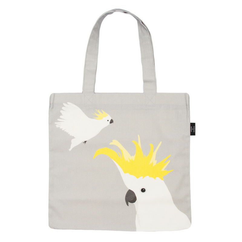 Cockatoo Canvas Bag in grey and yellow by Cockatoo Collection. Ethically made in Australia