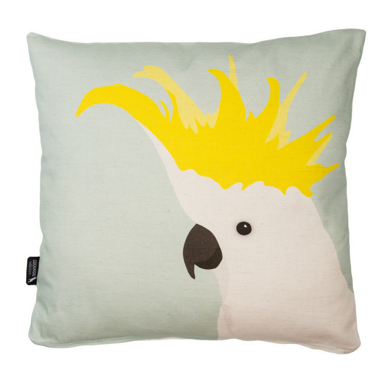 Cockatoo Cushion in Mint by Cockatoo Collection. Ethically made in Australia