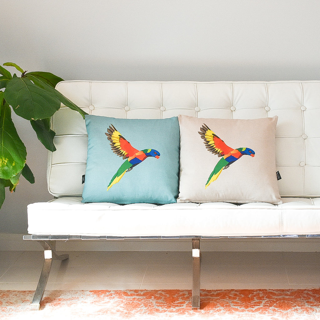 RAINBOW LORIKEET CUSHION IN BLUE