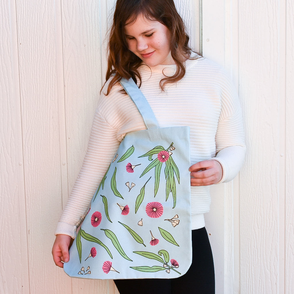 GUM BLOSSOM ORGANIC CANVAS BAG IN TURQUOISE