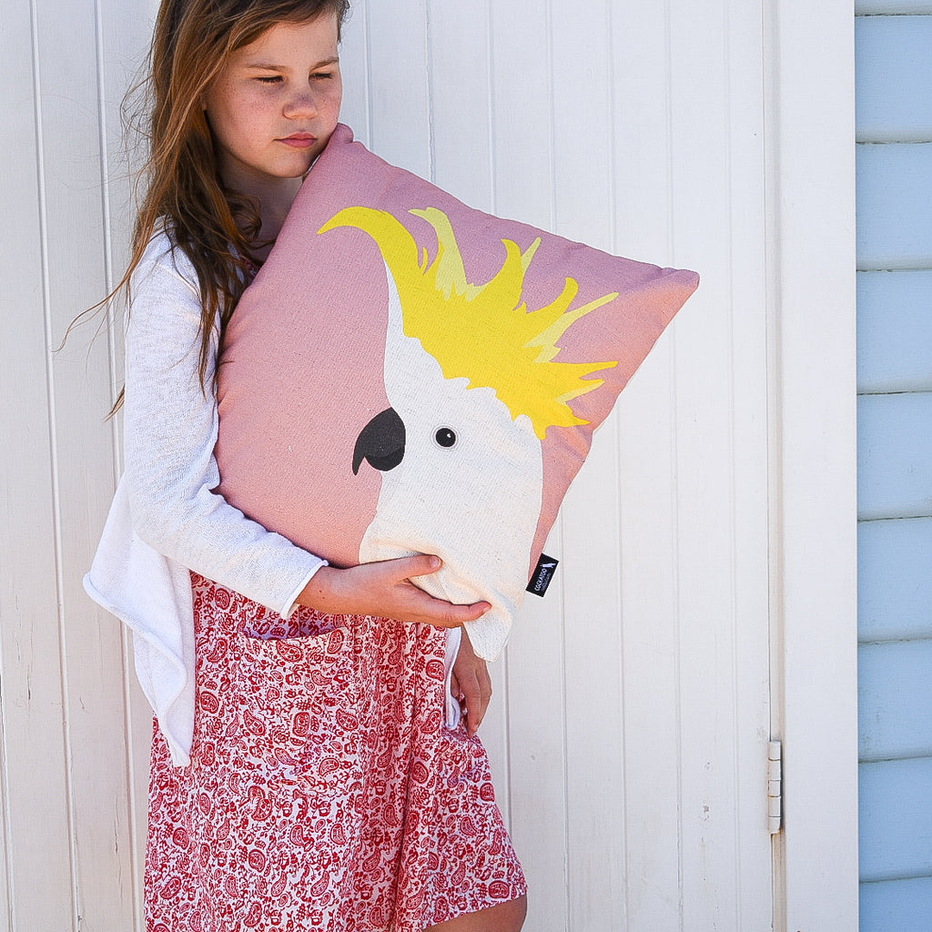 Cockatoo Cushion in Rose by Cockatoo Collection