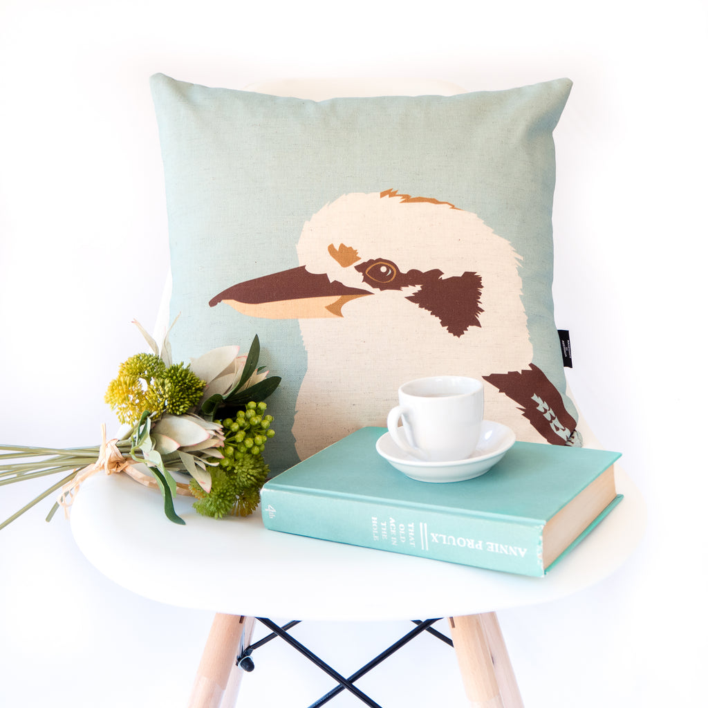 Laughing Kookaburra Cushion in Teal by Cockatoo Collection
