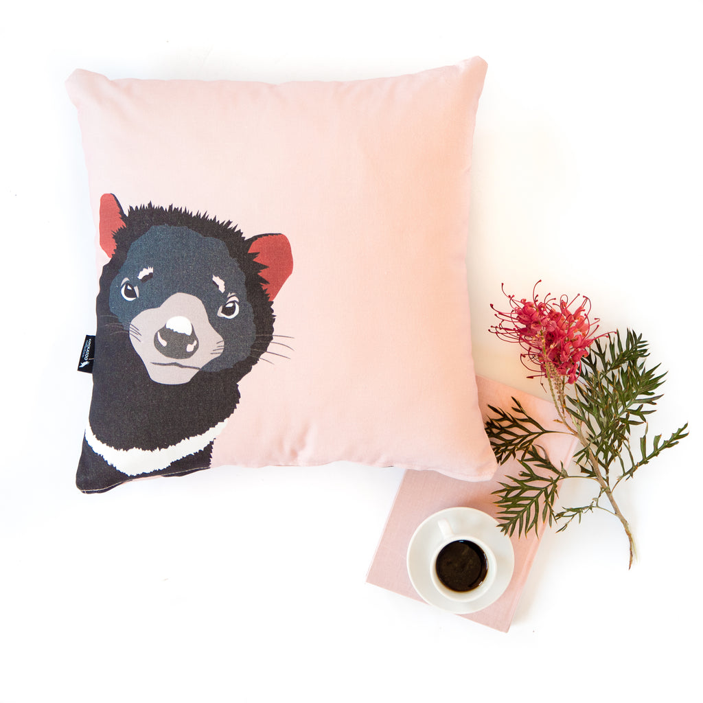 Tasmanian Devil Cushion in Pink - Australiana homegift / Australia Gift for kids