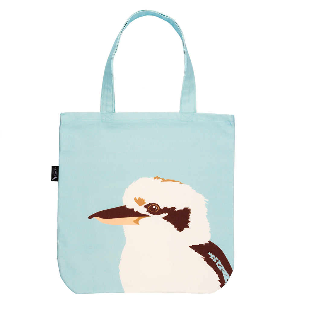 Kookaburra Canvas Tote Bag - handmade Australiana Gift by Cockatoo Collection