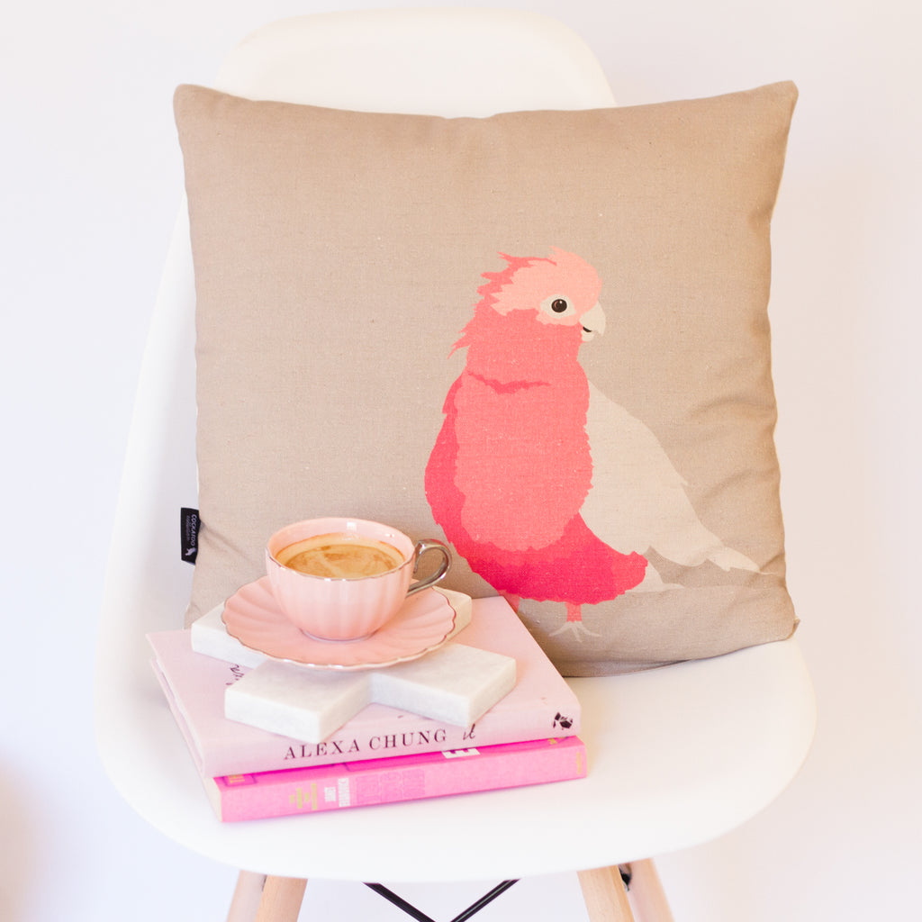 Ethically Australian Made Galah Cushion by Cockatoo Collection