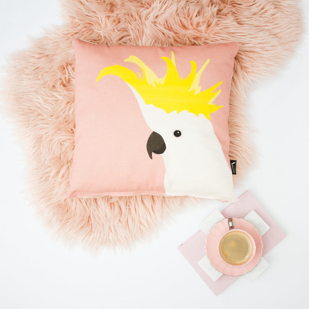 Cockatoo Cushion in Rose by Cockatoo Collection. Ethically made in Australia