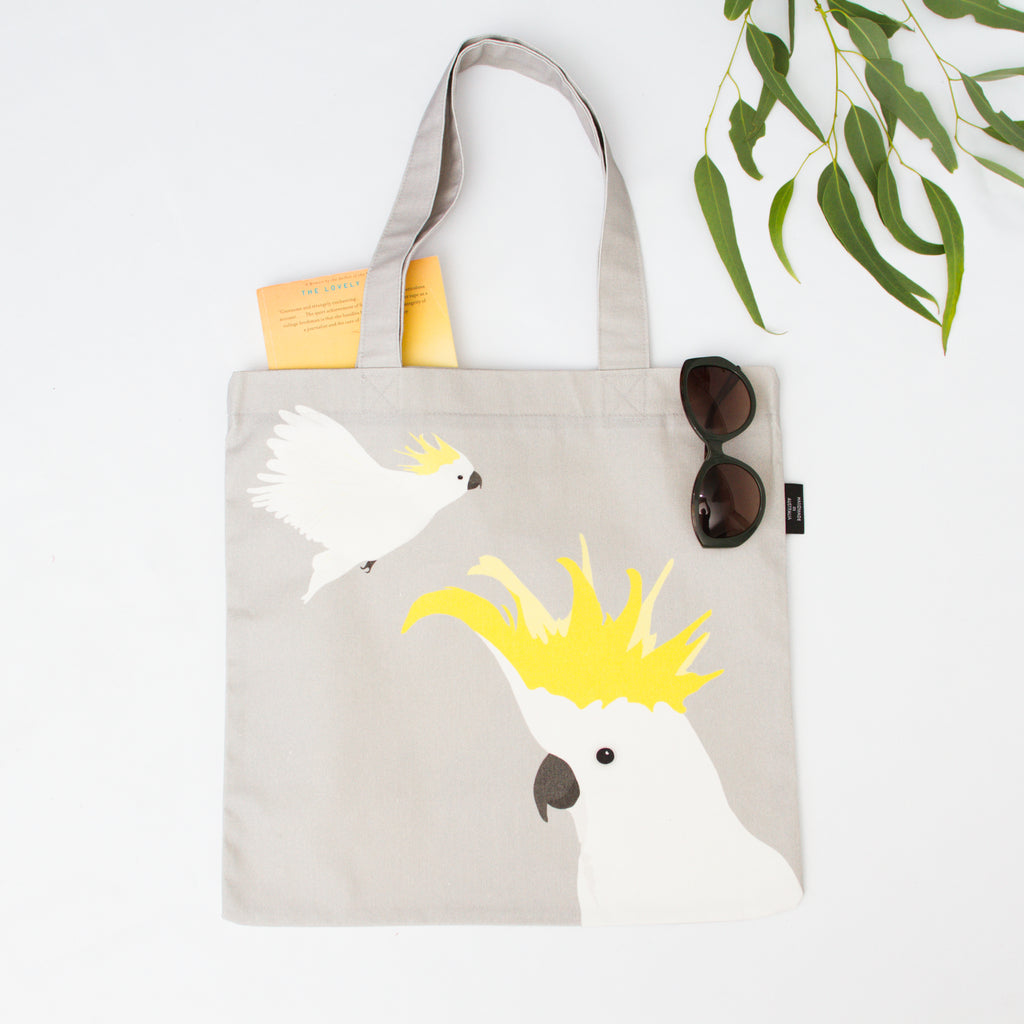 Cockatoo Canvas Bag in Grey and Yellow by Cockatoo Collection. Ethically made in Australia.