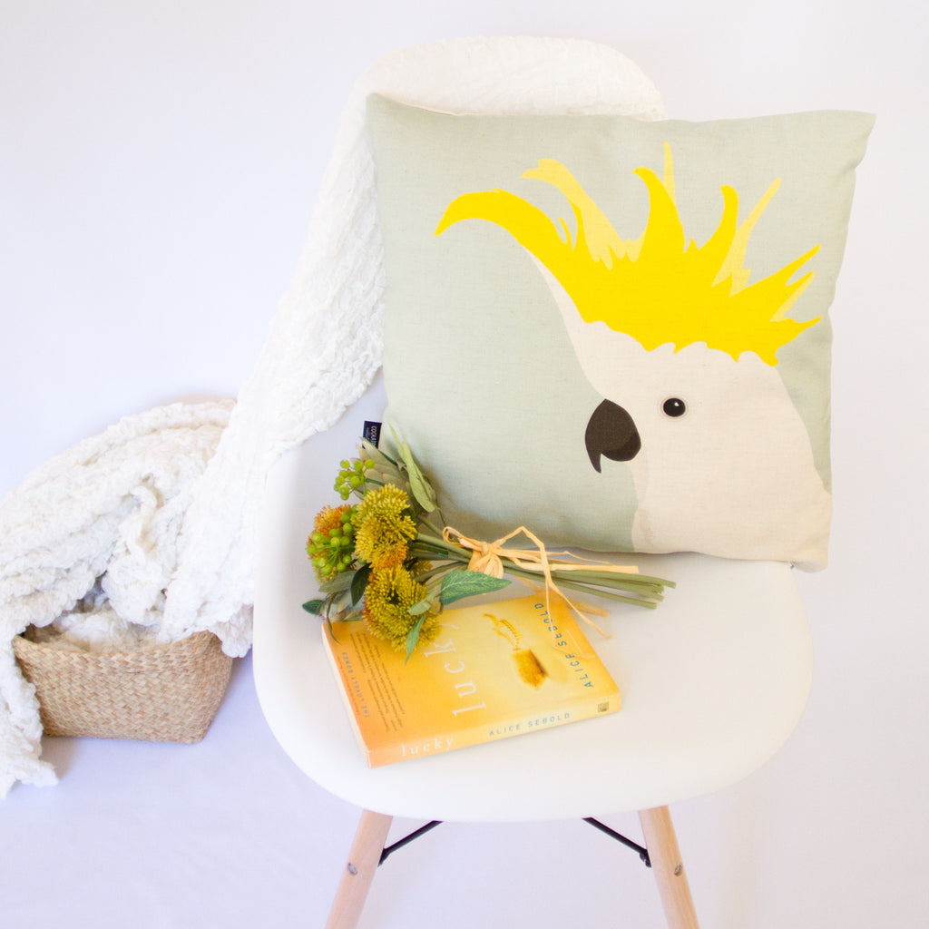 COCKATOO CUSHION IN AQUA