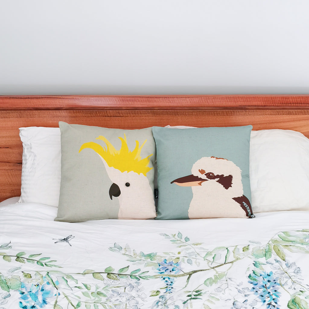 Kookaburra cushion and Cockatoo Cushion in Aqua by Cockatoo Collection