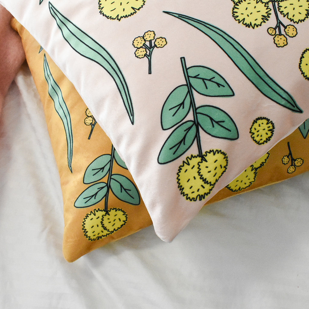 Golden Wattle Cushions in Velvet by Cockatoo Collection