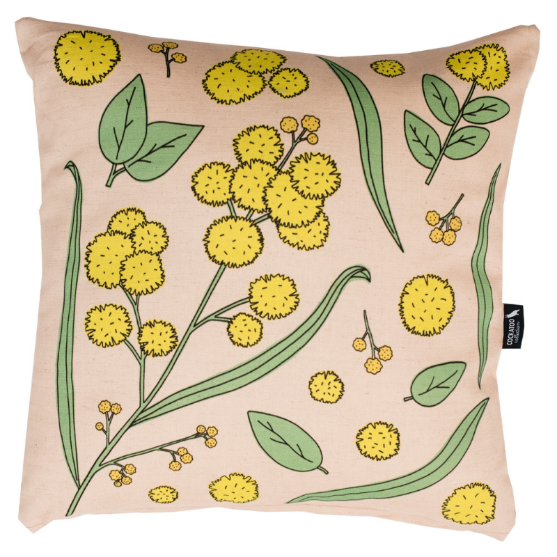 Golden Wattle Native Australian Flora Cushion / Australian Gift