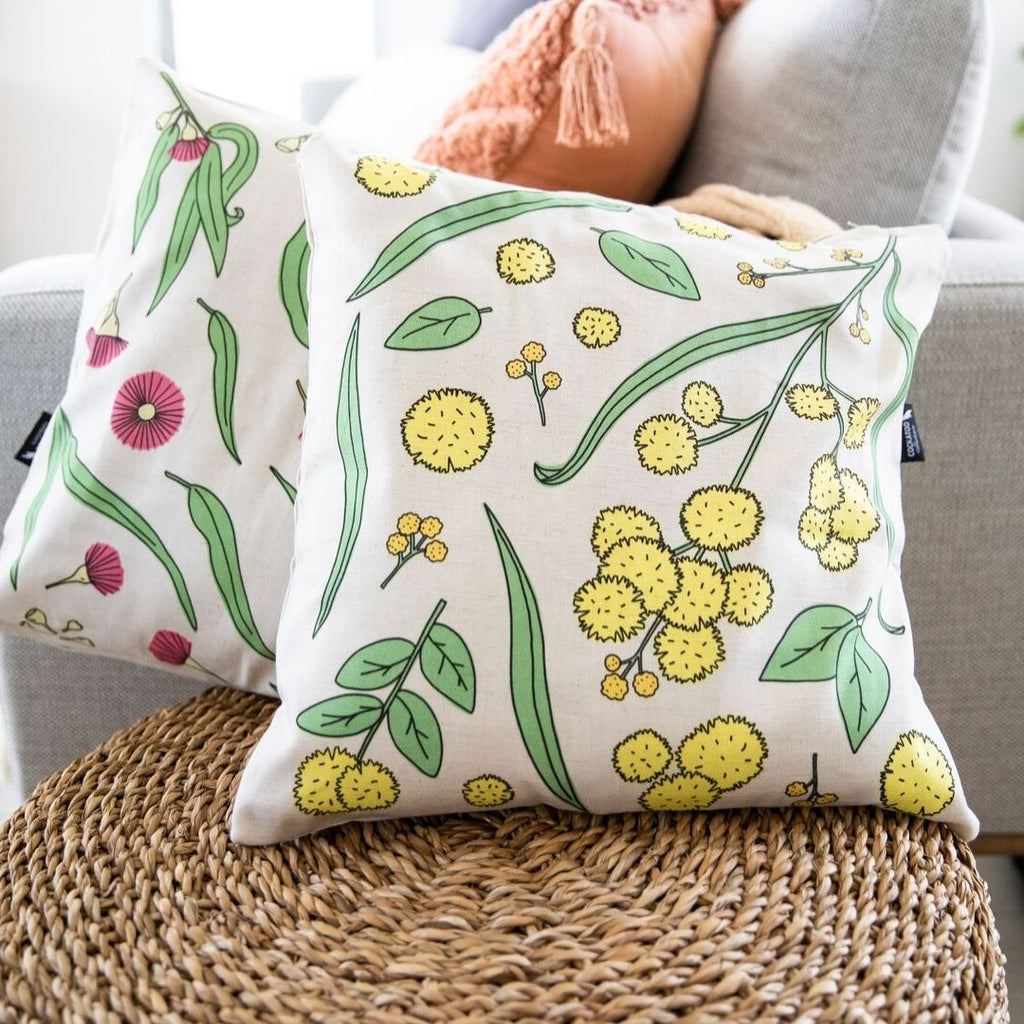 Golden Wattle handmade Cushion in Light Grey by Cockatoo Collection