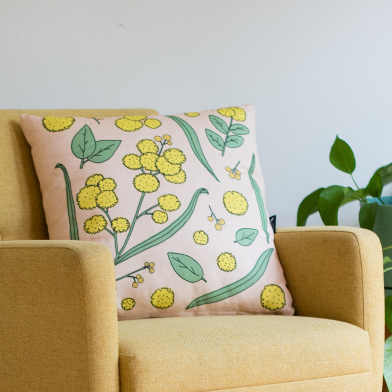 Golden Wattle Native Australian Flora Cushion - Australian Gift / Australiana