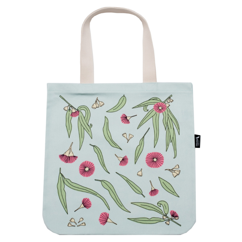 Gum Blossom Canvas Tote in Turquoise by Cockatoo Collection - Australian Gift / Australiana