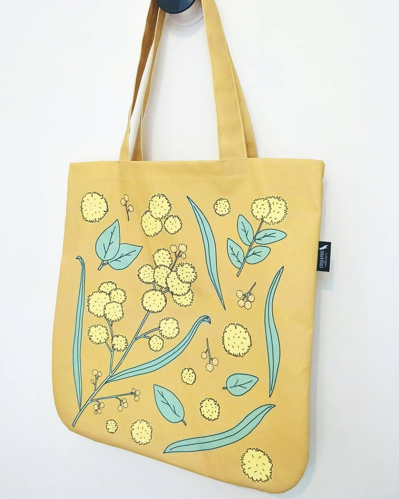 Golden Wattle Organic Canvas Tote in Mustard by Cockatoo Collection.