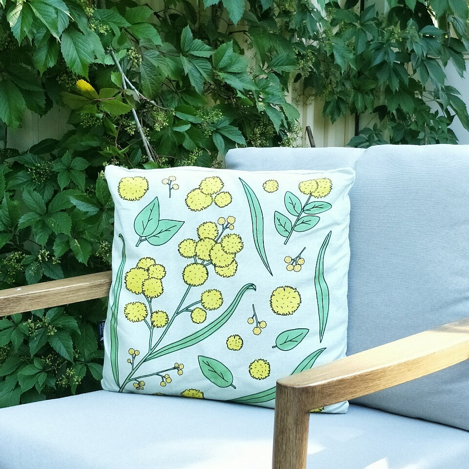 GOLDEN WATTLE CUSHION IN PALE GREEN