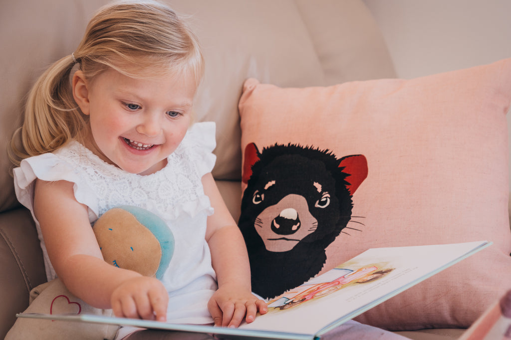 Tasmanian Devil cushion in dusty pink by Cockatoo Collection (image by Life by Luca photography)