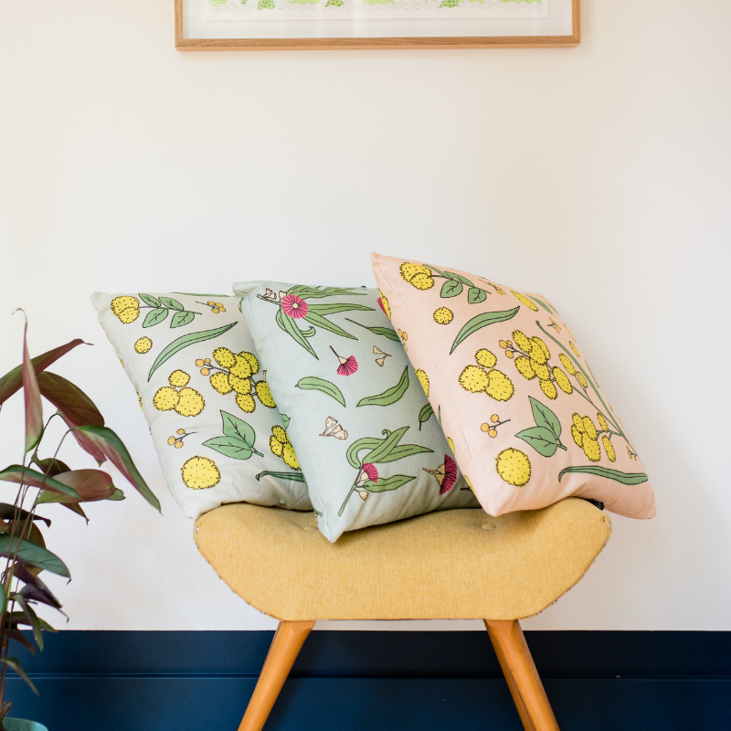 Gum Blossom  Native Flora Cushion - Australian Gift / Australiana / Eucalyptus Bloom